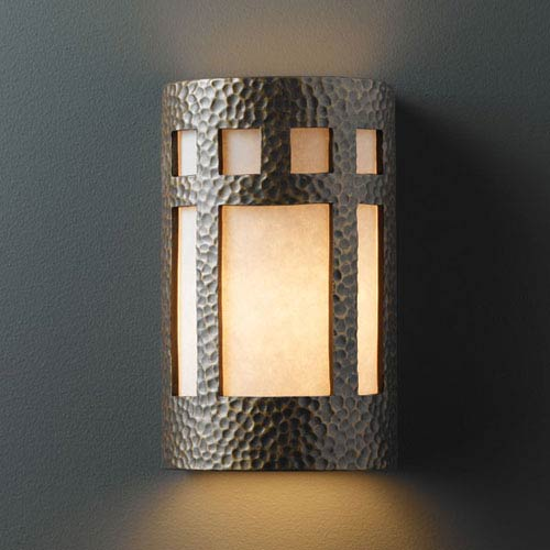 Justice Design Group Ambiance Hammered Brass Small Prairie Window Bathroom Wall Sconce
