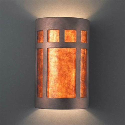 Justice Design Group Ambiance Hammered Iron Large Prairie Window Two-Light Bathroom Wall Sconce