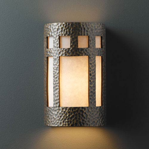 Justice Design Group Ambiance Hammered Brass Large Prairie Window Outdoor Wall Sconce
