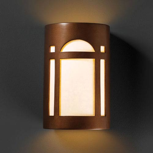 Justice Design Group Ambiance Antique Copper Large Arch Window Two-Light Bathroom Wall Sconce