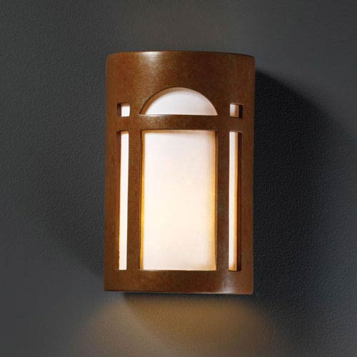 Justice Design Group Ambiance Rust Patina Large Arch Window Two-Light Bathroom Wall Sconce