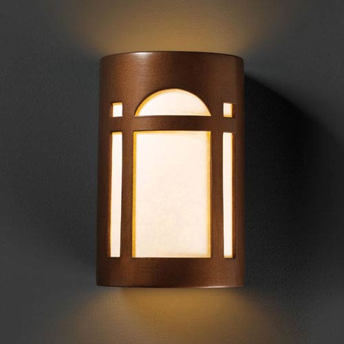 Justice Design Group Ambiance Antique Copper Large Arch Window Outdoor Wall Sconce