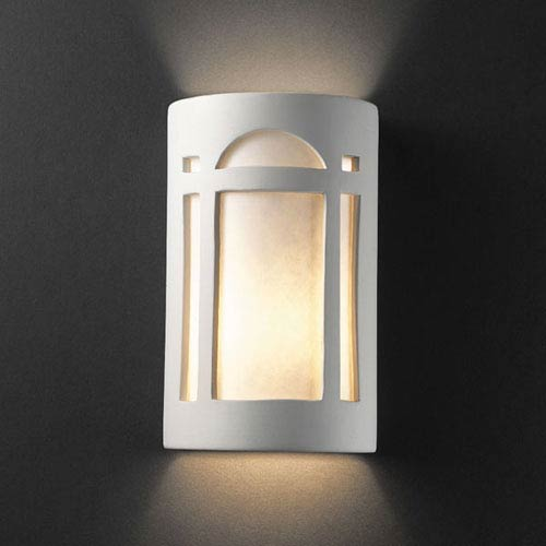 Justice Design Group Ambiance Bisque Large Arch Window Outdoor Wall Sconce