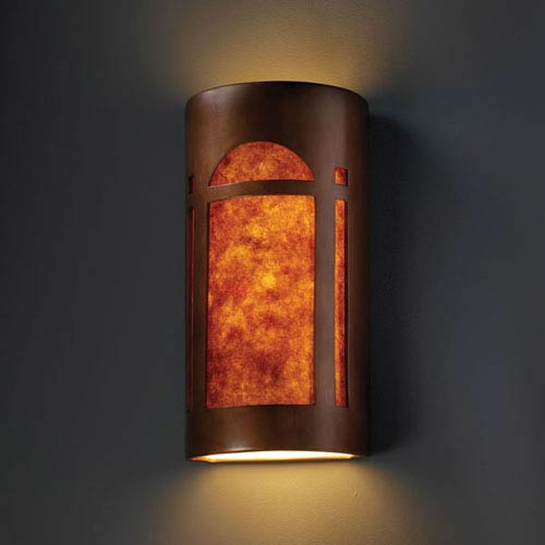 Ambiance Antique Copper Really Big Arch Window Two-Light Bathroom Wall Sconce