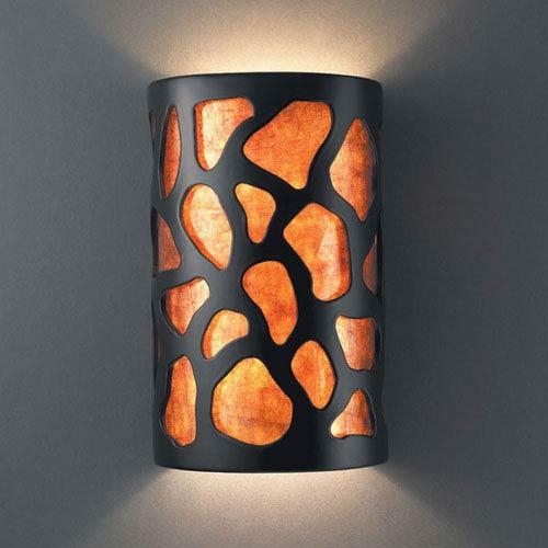 Ambiance Carbon Matte Black Small Cobblestones Bathroom Wall Sconce