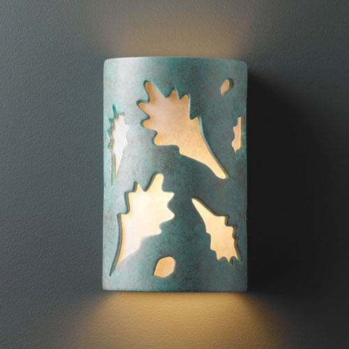 Justice Design Group Ambiance Verde Patina Small Oak Leaves Bathroom Wall Sconce