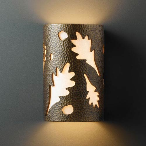 Justice Design Group Ambiance Hammered Brass Large Oak Leaves Two-Light Bathroom Wall Sconce