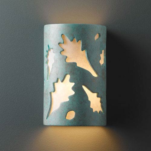 Justice Design Group Ambiance Verde Patina Large Oak Leaves Two-Light Bathroom Wall Sconce
