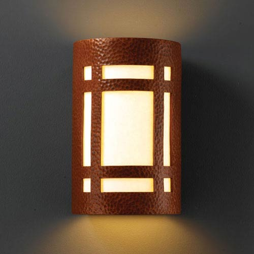 Ambiance Hammered Copper Small Craftsman Window Bathroom Wall Sconce
