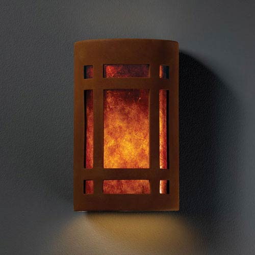 Ambiance Real Rust Large Craftsman Window Two-Light Bathroom Wall Sconce