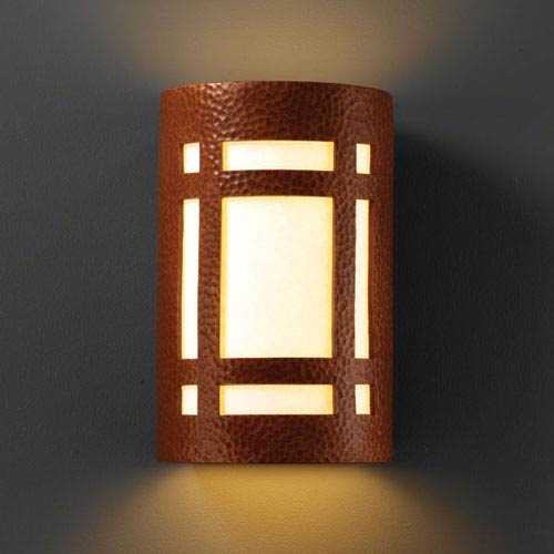 Justice Design Group Ambiance Hammered Copper Large Craftsman Window Outdoor Wall Sconce