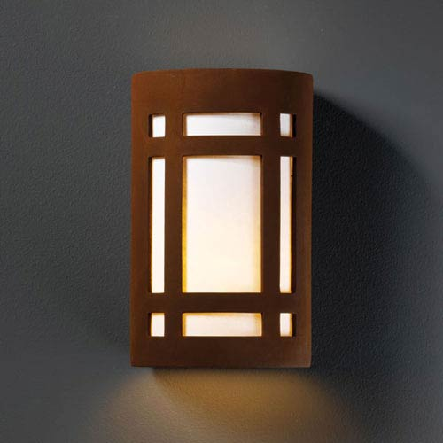 Justice Design Group Ambiance Real Rust Large Craftsman Window Outdoor Wall Sconce