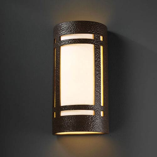 Justice Design Group Ambiance Hammered Iron Really Big Craftsman Window Two-Light Bathroom Wall Sconce