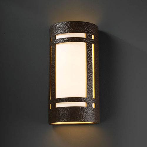 Justice Design Group Ambiance Hammered Iron Really Big Craftsman Window Two-Light Outdoor Wall Sconce