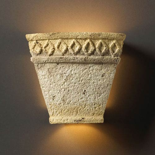 Tuscan Garden Greco Travertine Small Tapered Sconce With Diamond Design Two-Light Bathroom Wall Sconce