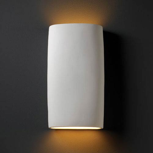 Justice Design Group Ambiance Bisque Really Big Cylinder Two-Light Bathroom Wall Sconce