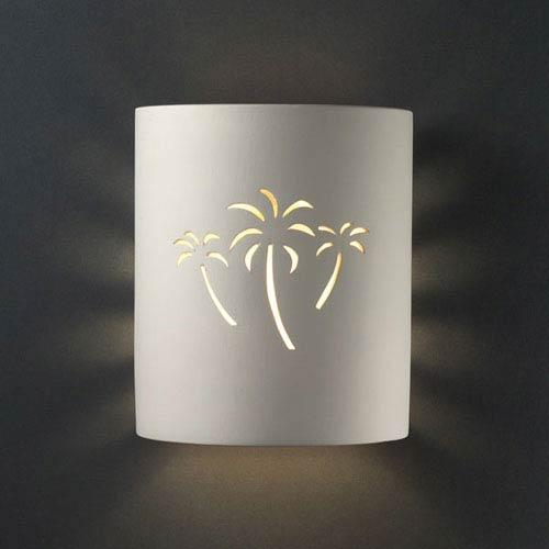 Sun Dagger Bisque Palm Cutout Small Cylinder Outdoor Wall Sconce