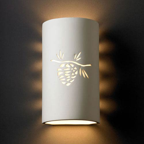 Justice Design Group Sun Dagger Bisque Sun Dagger Large Cylinder Two-Light Bathroom Wall Sconce