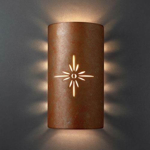 Sun Dagger Rust Patina Sun Dagger Large Cylinder Two-Light Bathroom Wall Sconce Sunburst Cut-Out