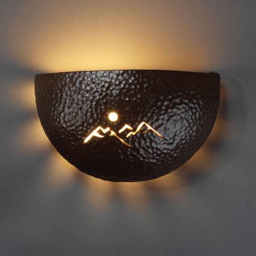 Sun Dagger Hammered Iron Mountain Cutout Half-Circle Pocket Bathroom Wall Sconce