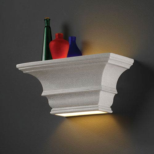 Justice Design Group Ambiance White Crackle Rectangular Concave With Glass Shelf Bathroom Wall Sconce