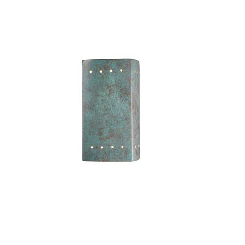 Ambiance Verde Patina 4.5-Inch LED Small Rectangular Outdoor Wall Sconce with Perforations and Closed Top