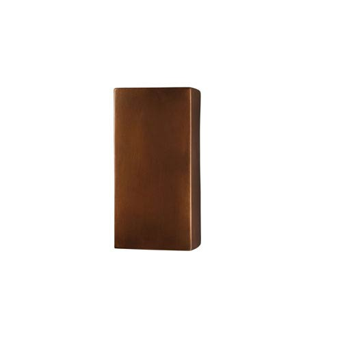 Justice Design Group Ambiance Hammered Copper LED Large Rectangular Outdoor Wall Sconce with Opened Top and Bottom