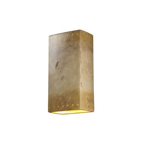 Ambiance Bisque LED Big Rectangular Wall Sconce with Perforations and Opened Top and Bottom