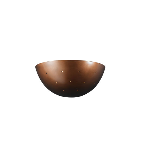 Ambiance Antique Copper LED Large Quarter Spherical Wall Sconce with Perforations