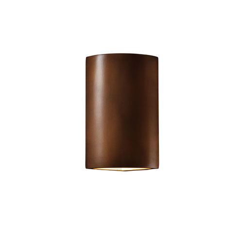 Ambiance Antique Copper LED Cylindrical Corner Wall Sconce