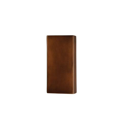Ambiance Antique Copper 4-Inch LED Large Rectangular Wall Sconce with Opened Top and Bottom