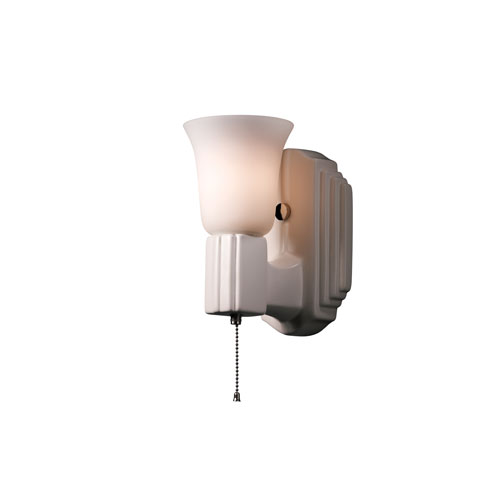 American Classics Matte White One-Light Deco Rectangular Wall Sconce with White Frosted Glass