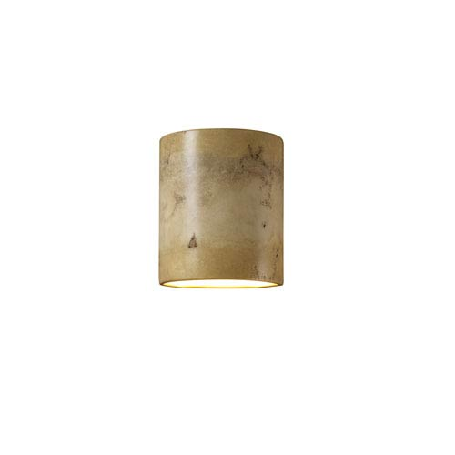 Sun Dagger Greco Travertine LED Small Cylindrical Outdoor Wall Sconce