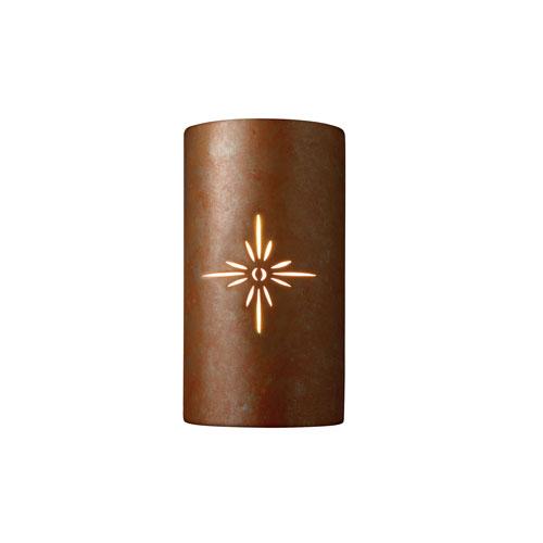 Sun Dagger Rust Patina LED Large Cylindrical Wall Sconce with Sunburst Cutout