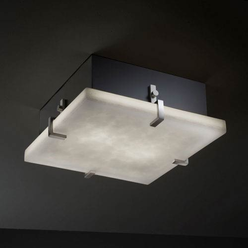 Justice Design Group Clouds Clips 12-Inch Two-Light Fluorescent Brushed Nickel Square Flush-Mount