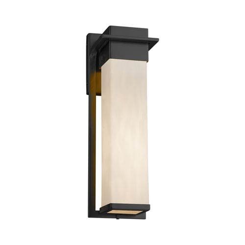 Justice Design Group Clouds - Pacific Matte Black 17-Inch LED Outdoor Wall Sconce with Off-White Clouds Resin