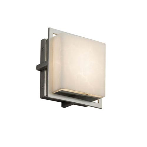 Justice Design Group Clouds - Avalon Brushed Nickel Seven-Inch LED Outdoor Wall Sconce with Off-White Clouds Resin