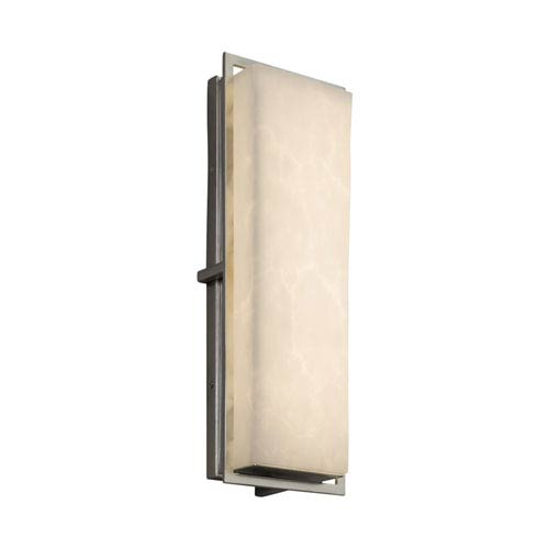 Justice Design Group Clouds - Avalon Brushed Nickel 18-Inch LED Outdoor Wall Sconce with Off-White Clouds Resin