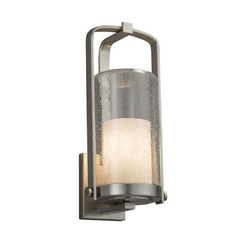 Clouds - Atlantic Brushed Nickel 17-Inch LED Outdoor Wall Sconce with Off-White Clouds Resin