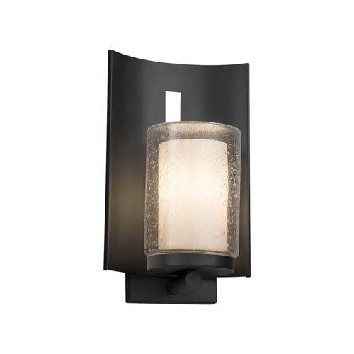 Justice Design Group Clouds - Embark Matte Black One-Light Outdoor Wall Sconce with Off-White Clouds Resin