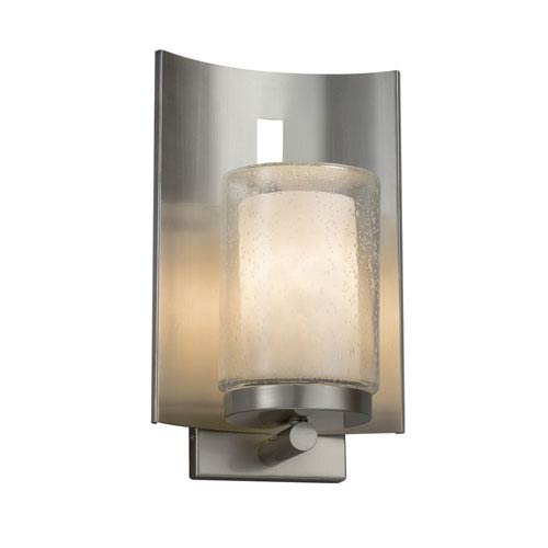 Justice Design Group Clouds - Embark Brushed Nickel One-Light Outdoor Wall Sconce with Off-White Clouds Resin
