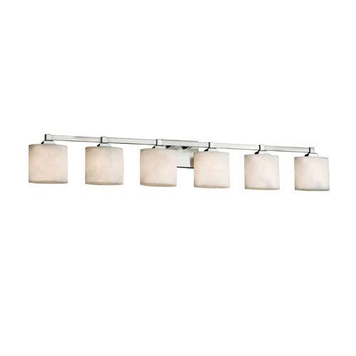 Justice Design Group Clouds - Regency Brushed Nickel Six-Light Bath Vanity with Off-White Clouds Resin