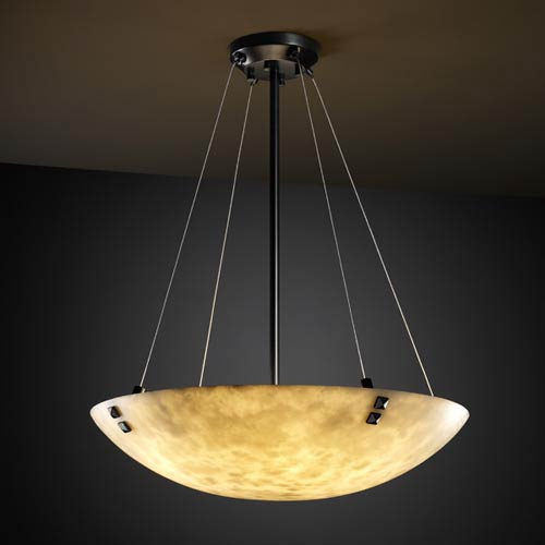 Clouds 18-Inch Bowl Pendant with Pair Square Points Finials