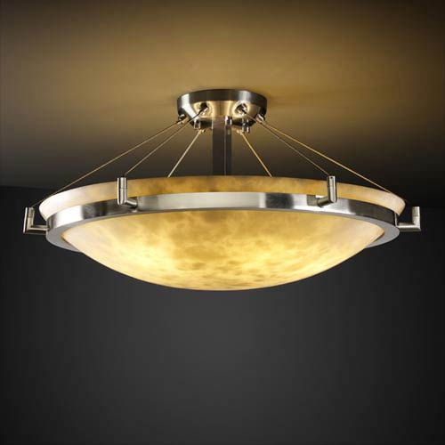 Clouds 24-Inch Round 5000 Lumen LED Semi-Flush Mount with Ring