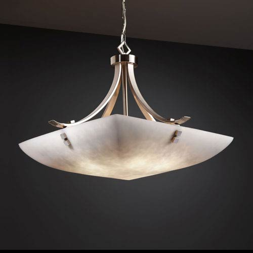 Justice Design Group Clouds Flat Bars with Finials 24-Inch Six-Light Brushed Nickel Pendant Bowl Flat Bars With Finials