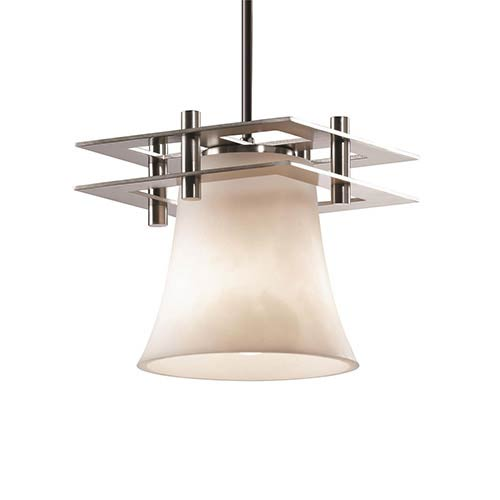 Clouds Brushed Nickel One-Light Round Flared Mini Pendant with Two Flat Bar