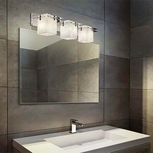 Justice Design Group Clouds Polished Chrome Three-Light Bath Bar