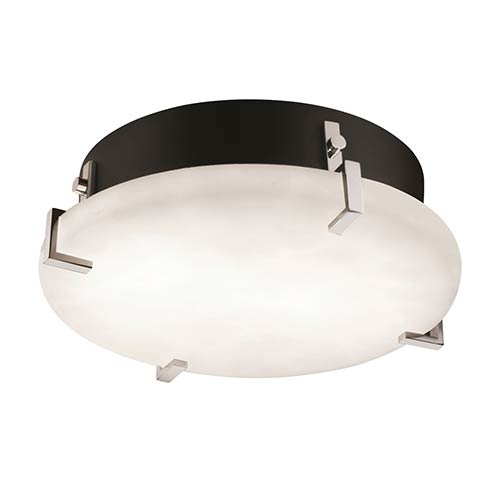 Justice Design Group Clouds Polished Chrome Two-Light 12-Inch Wide Fluorescent Round Clips Flush Mount