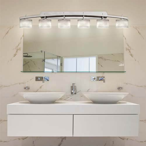Clouds Brushed Nickel Six-Light Bath Bar