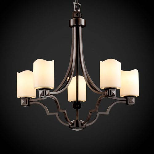 Justice Design Group CandleAria Argyle Five-Light Dark Bronze Chandelier